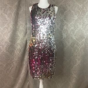 Badgley Mischka Holographic Cocktail Dress